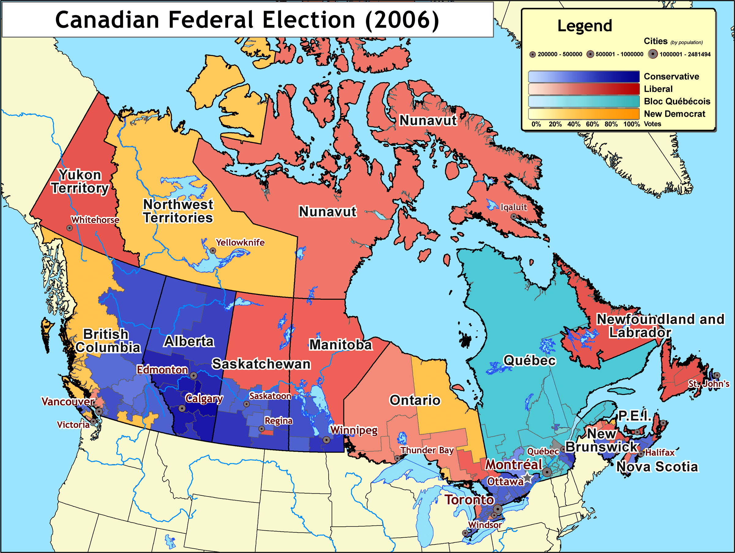 Map Of Southern Canada Results of the 2006 Canadian federal election   Wikipedia
