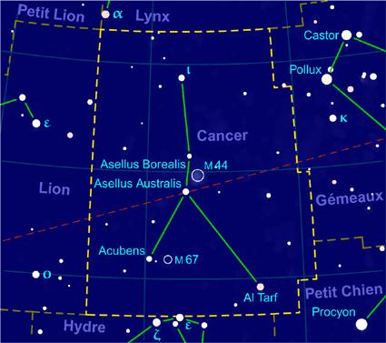 Carte pour la constellation Cancer Produite à l'aide du logiciel PP3 - Grum / Orthogaffe / Looxix / Korrigan - Wikimedia Commons