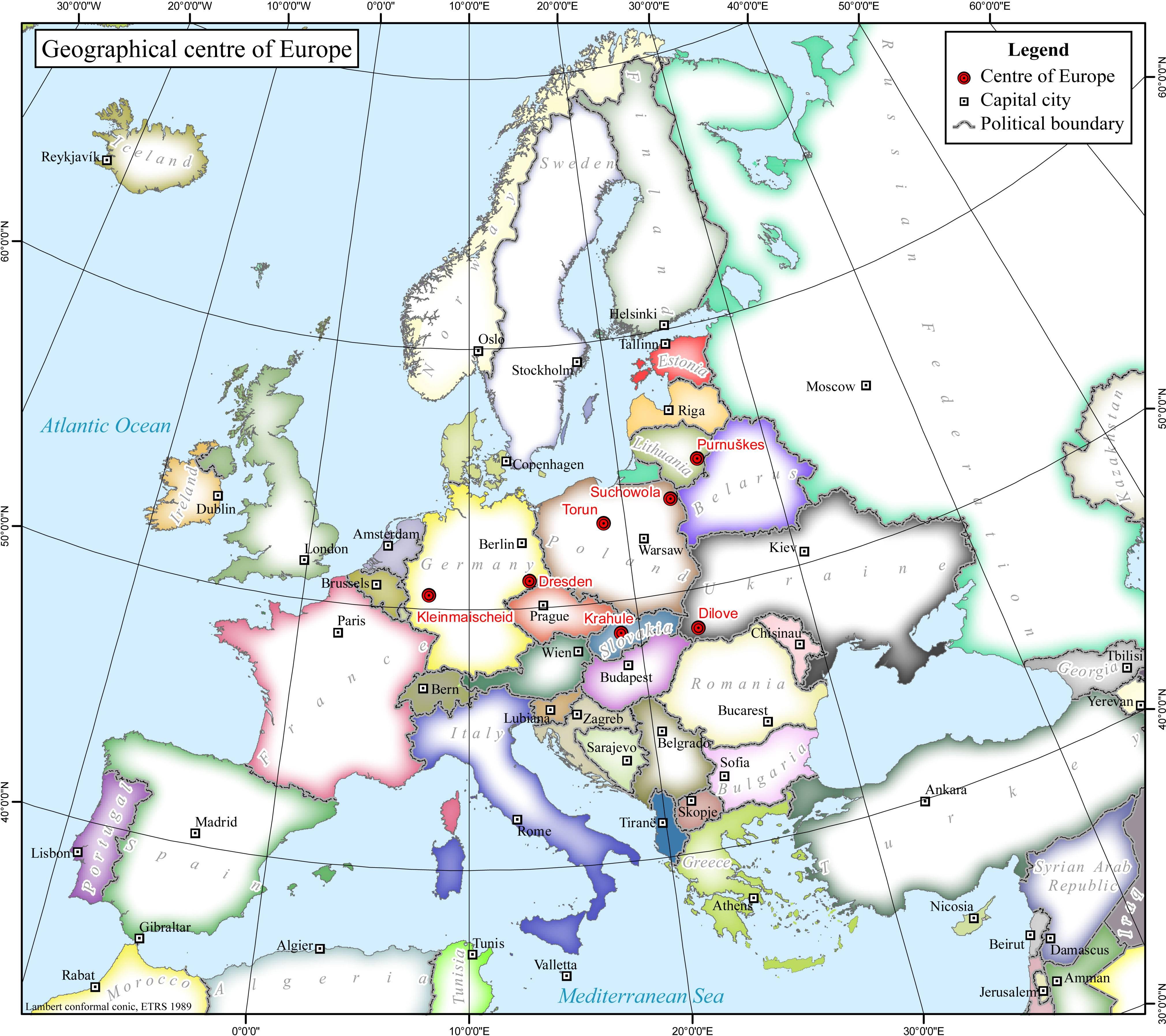 Europe Map Coordinates