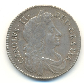 Half-Crown of Charles II, 1683. The inscription reads CAROLUS II DEI GRATIA (Charles II by the Grace of God).