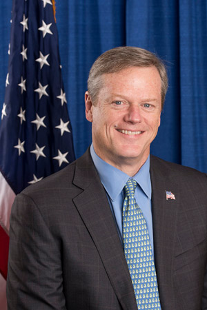 Charlie Baker (R), the 72nd and current Governor of Massachusetts Charlie Baker official portrait.jpg
