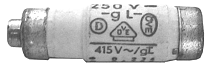 A sample of the many markings that can be found on a fuse. D01-Neozed-16A.png