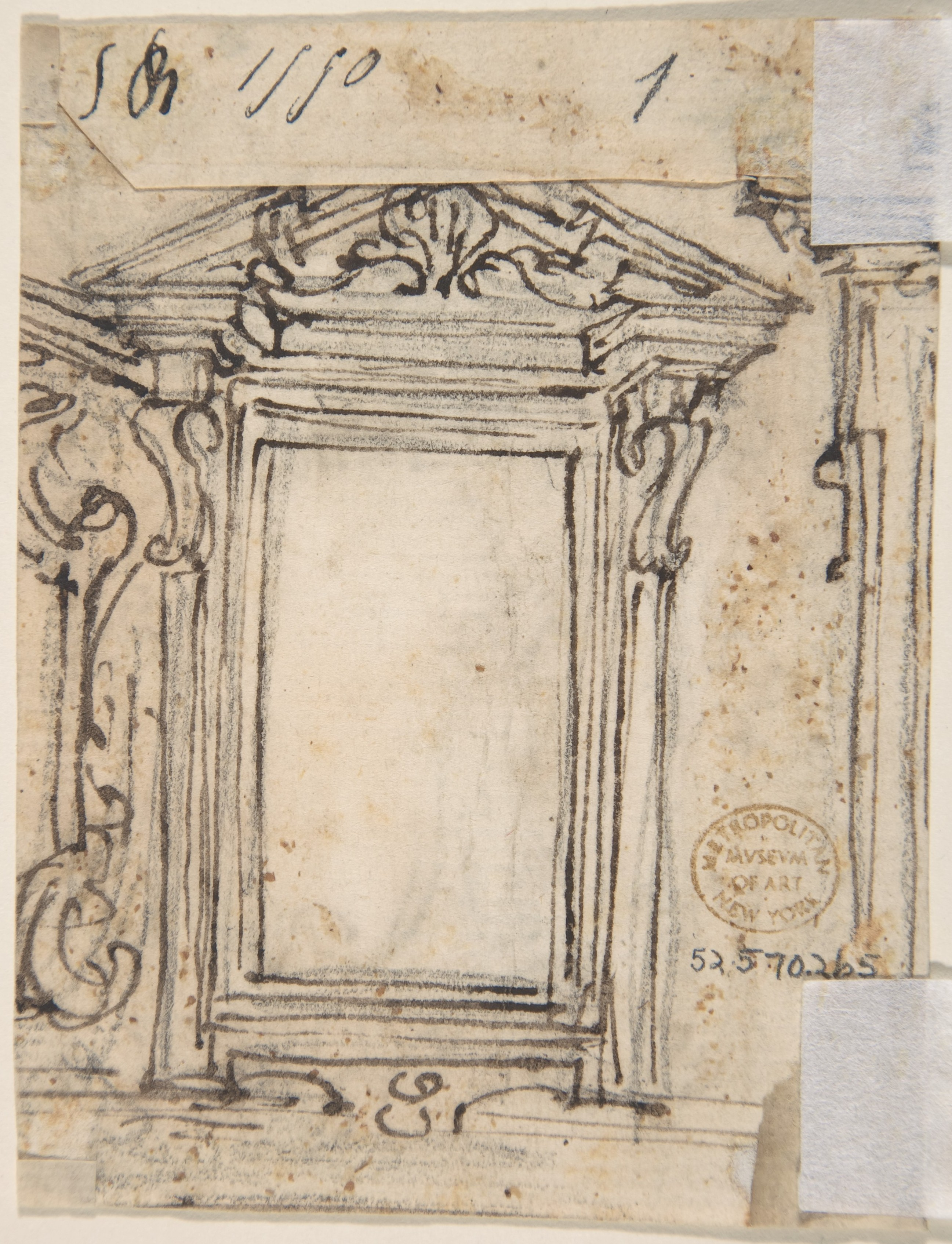 file designs for a pilaster ornament and cartouche  recto