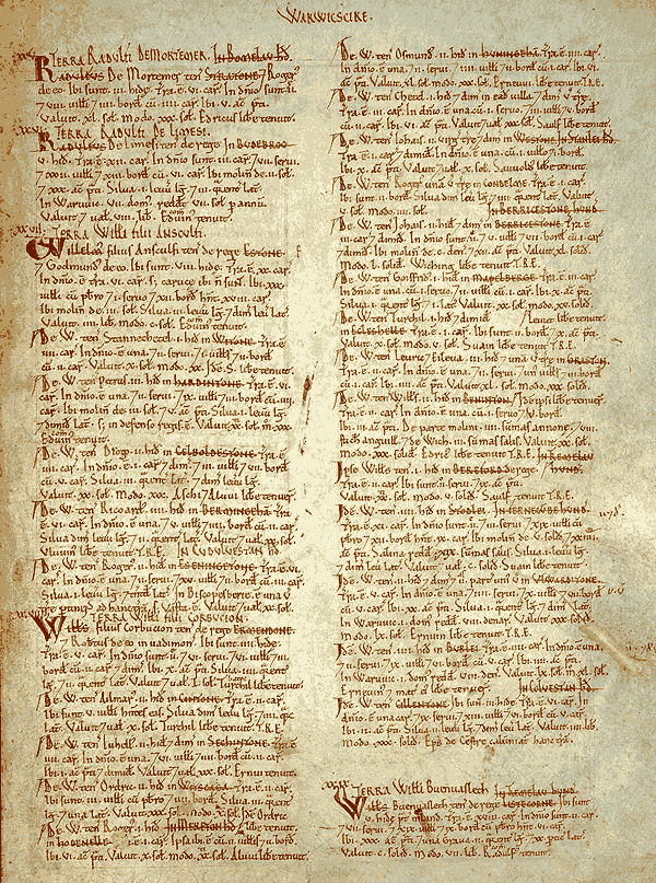 A page of the Domesday Book for Warwickshire
