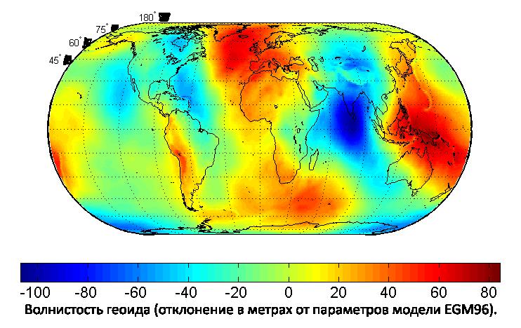 Карта, показывающая величину волнистости геоида в метрах (на основе модели EGM96 и эллипсоида WGS84).