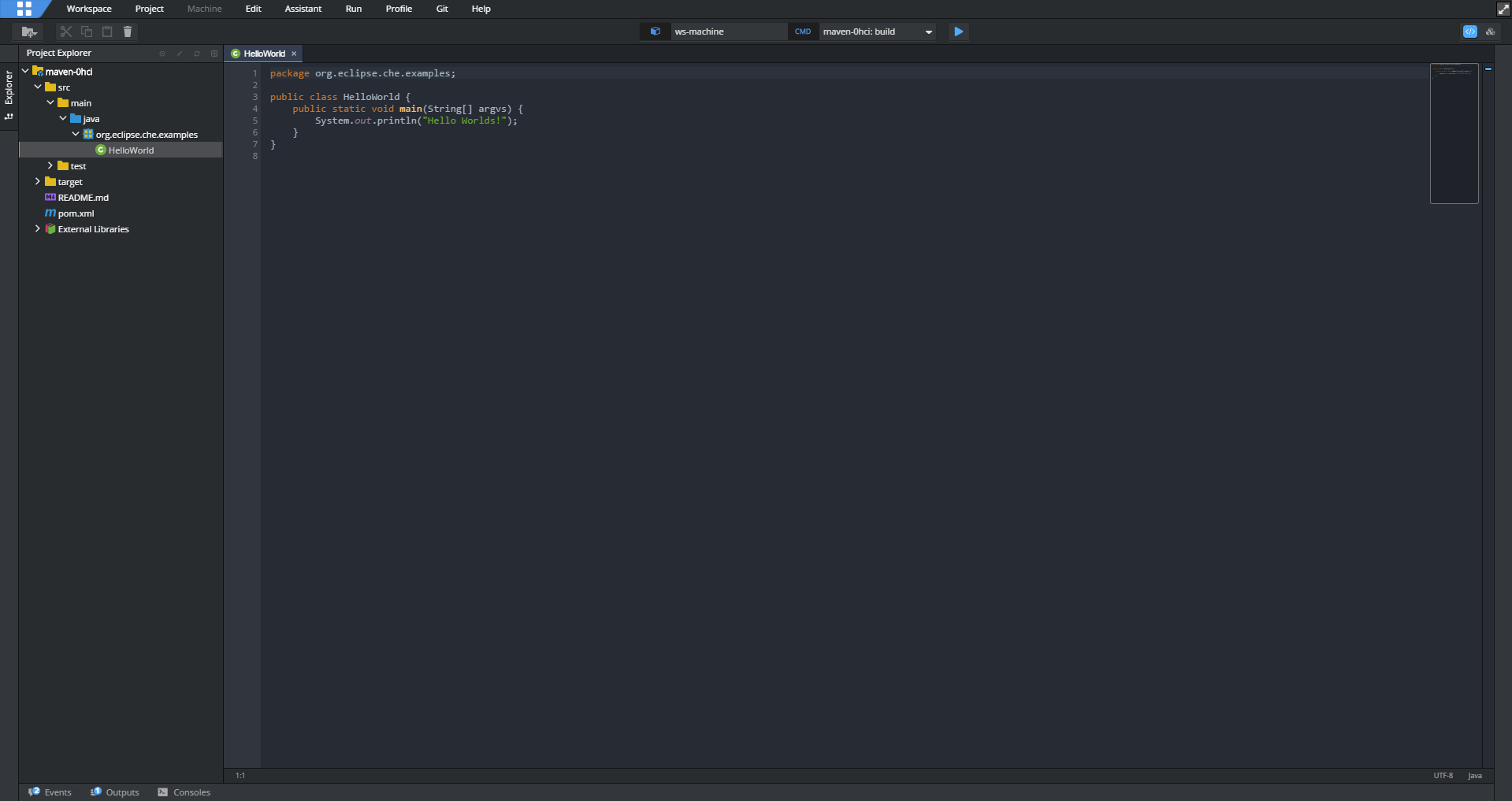 Eclipse CHE IDE Screenshot no Markers