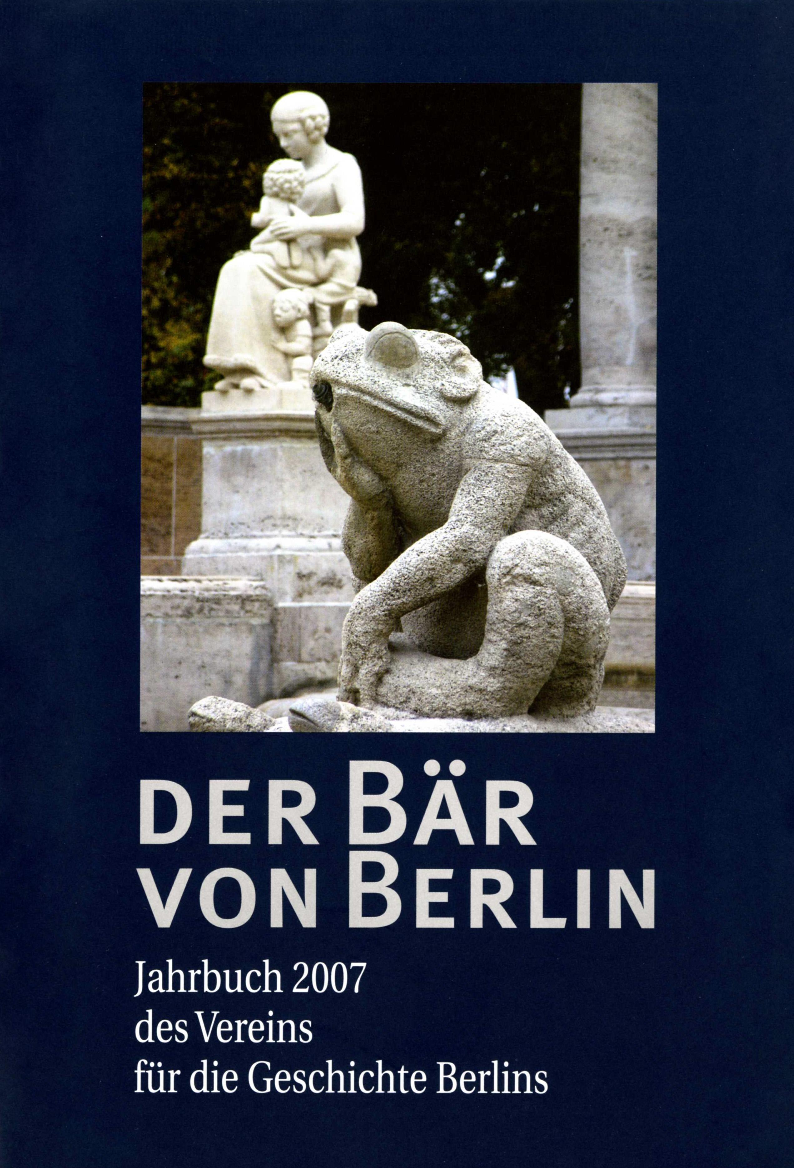 Dateijahrbuch Verein Für Die Geschichte Berlins Deckblatt 2007jpg