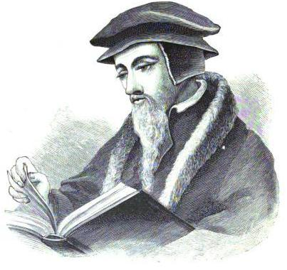 Line drawing of John Calvin, published in 1892 book