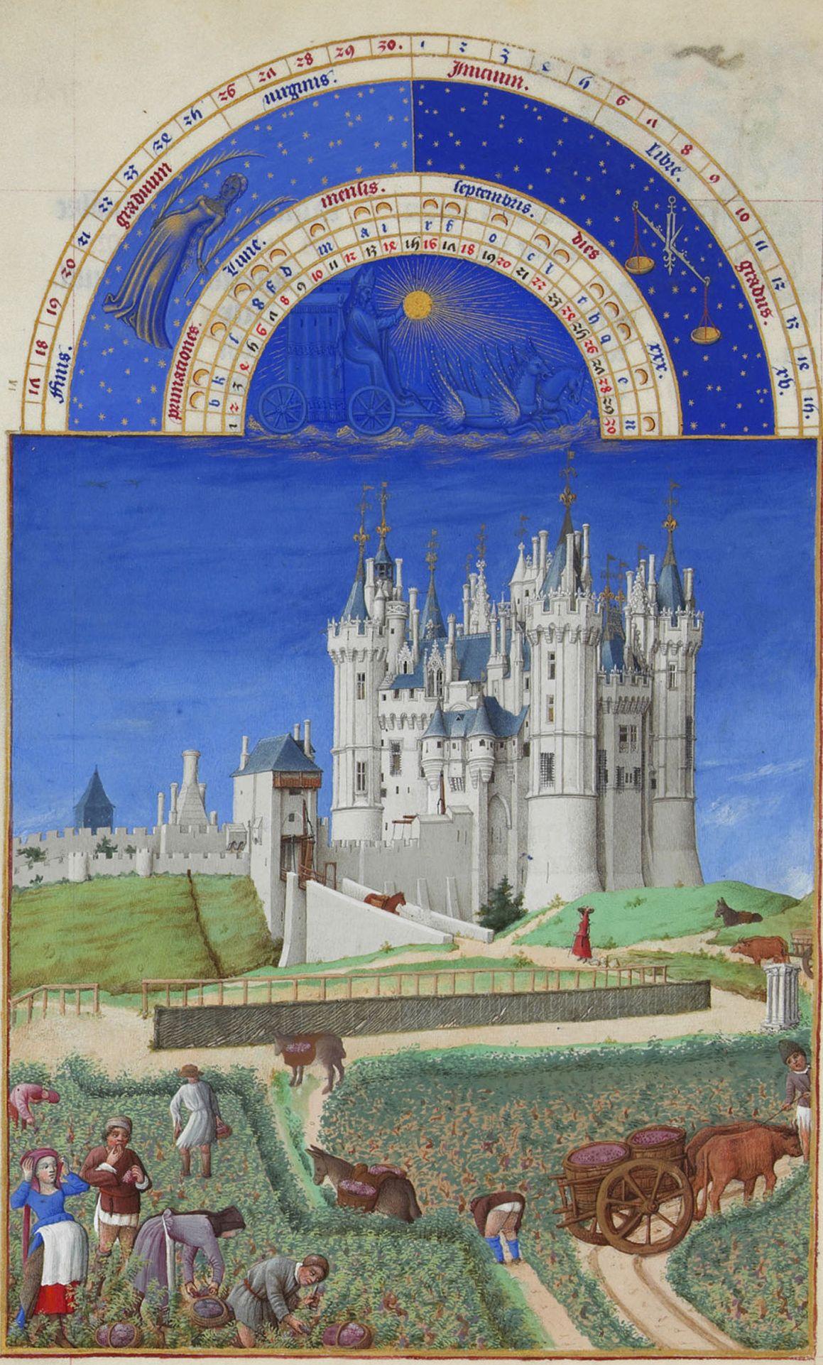 Weinlese in den herzöglichen Weingärten: Der September im Großen Stundenbuch des Duc de Berry, 15. Jh. Chantilly, Musée Condé, Ms. 65, fol. 9v.