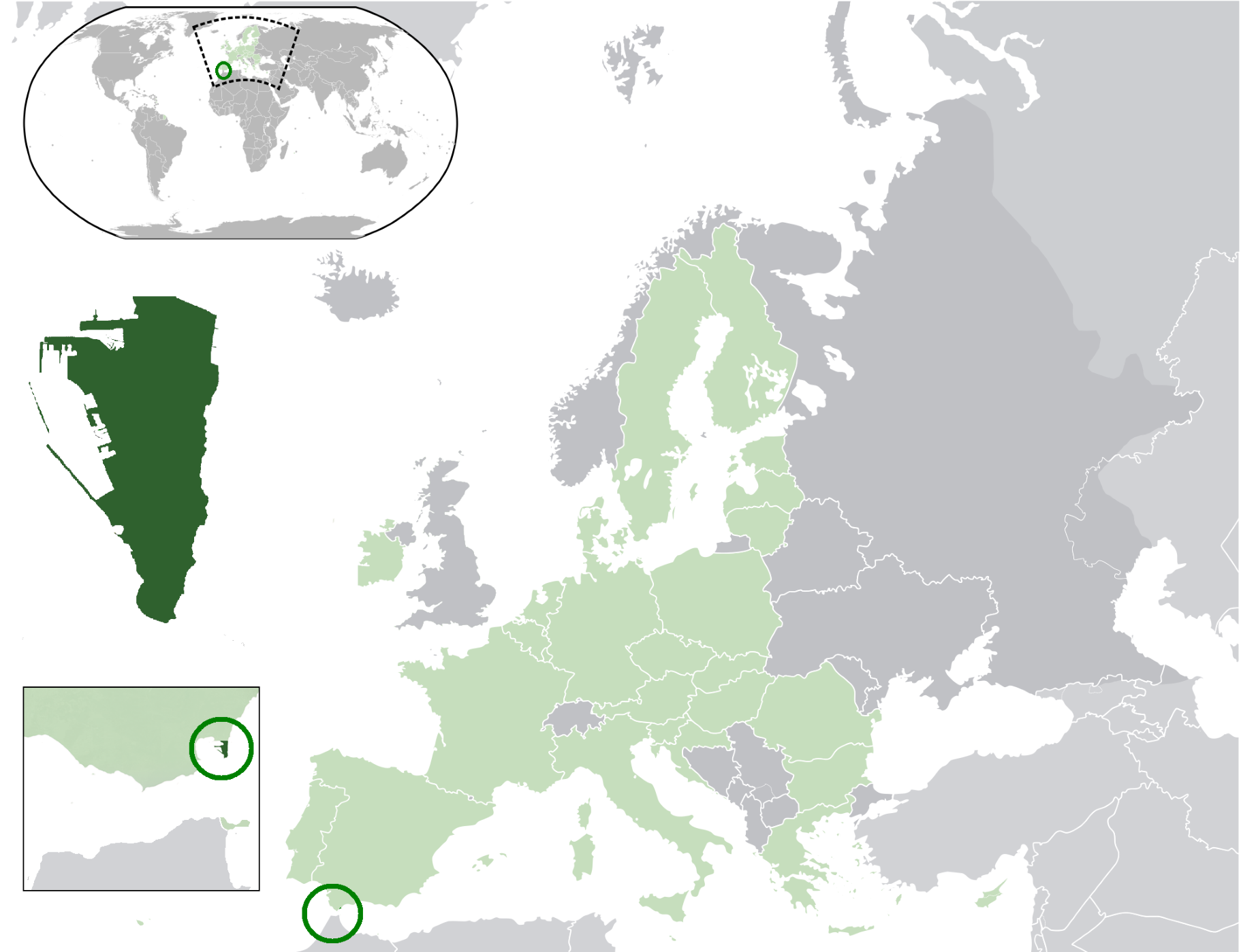Location of  Gibraltar  (dark green)– in Europe  (green & dark grey)– in the European Union  (green)  —  [Legend]