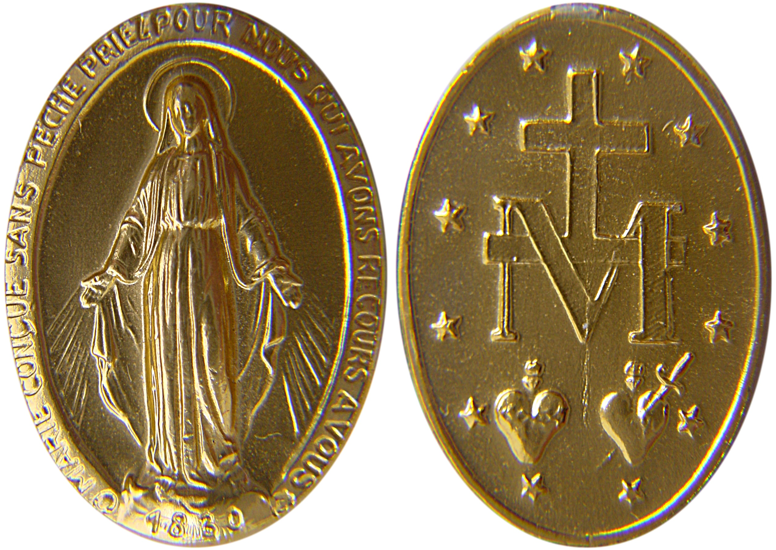 Miraculous Medal shown to St. Catherine Laboure