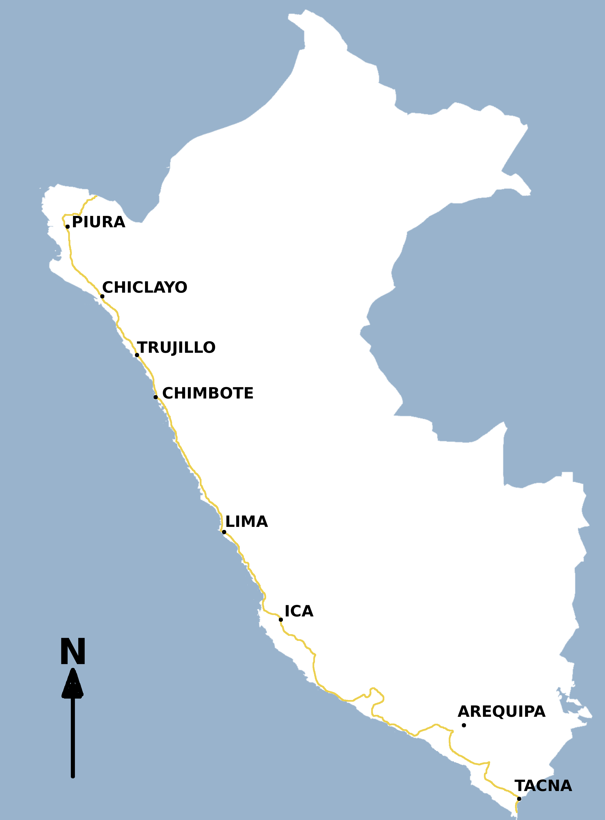 map of pan american highway with File Peru Ruta 001  Panamericana on G panamerican additionally Alaska To Argentina Cycling The Pan American Highway additionally 6026651109 in addition Continente Americano besides Chacchoben.