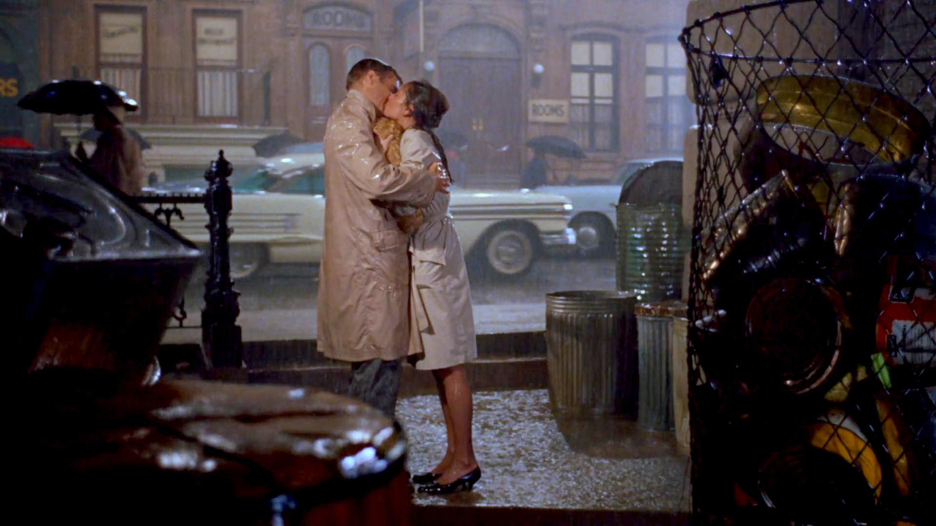 Kiss between Audrey Hepburn and George Peppard...
