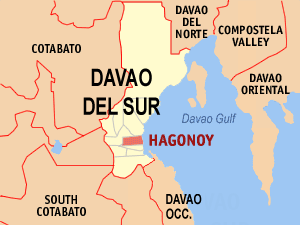 Map of Davao del Sur showing the location of Hagonoy