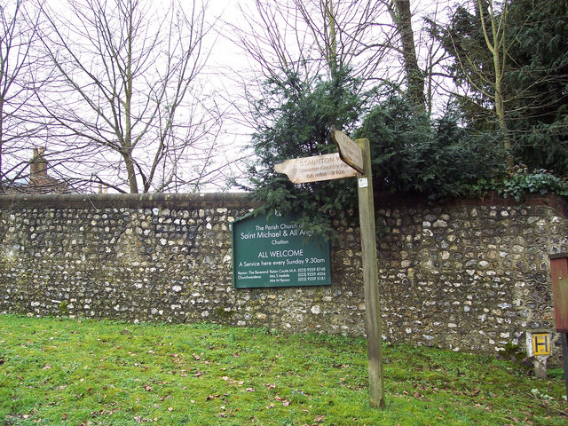 Signs for the Staunton Way and Church, Chalton - geograph.org.uk - 378253
