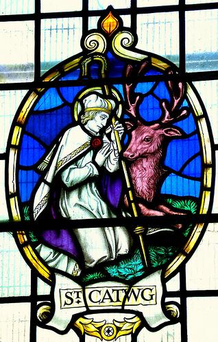 Den hellige Cadoc, glassmaleri i grevskapsdistrikt Caerphilly (wal: Caerffili) i det sørlige Wales