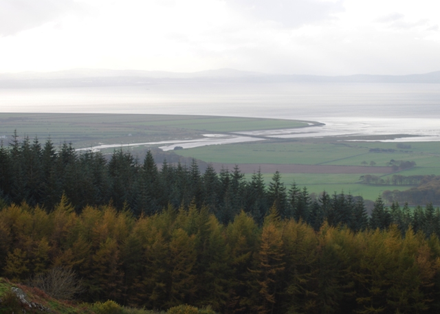 The Roe estuary Looking down from Binevenagh across the Magilligan plain towards Lough Foyle and the tidal mudflats of the Roe Estuary Nature Reserve.