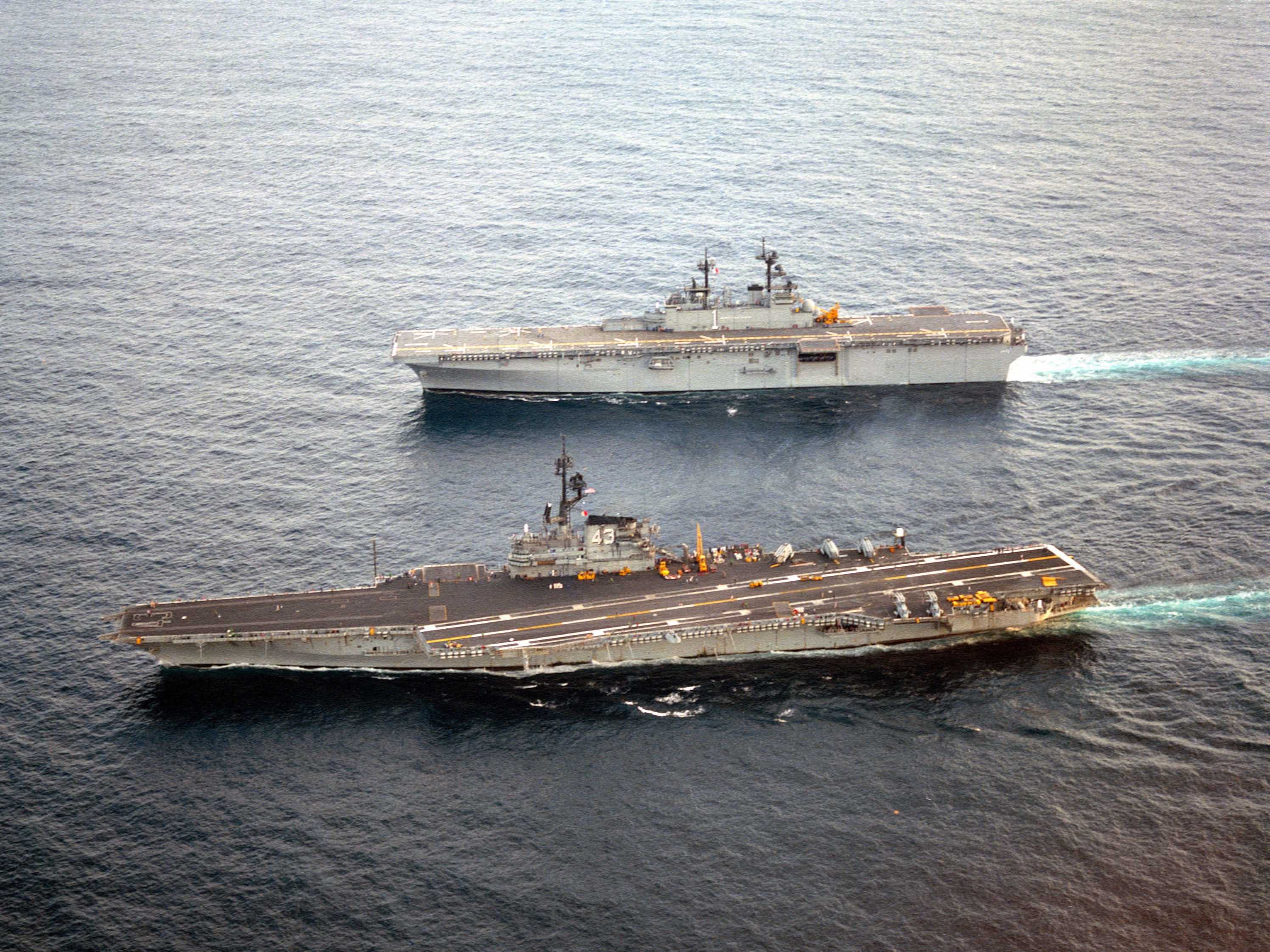 USS Coral Sea (CV-43) and Wasp (LHD-1) underway in 1989.JPEG