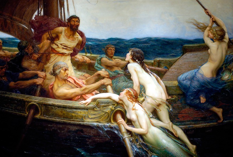 A painting of a boat in which several men are rowing while another man is tied to the mast and three mermaids are in the process of boarding the ship and losing their tails