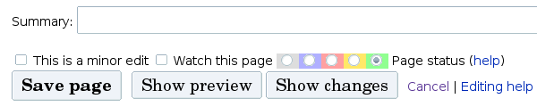 Screenshot of the page status radio buttons with the extra (green) Validate button.