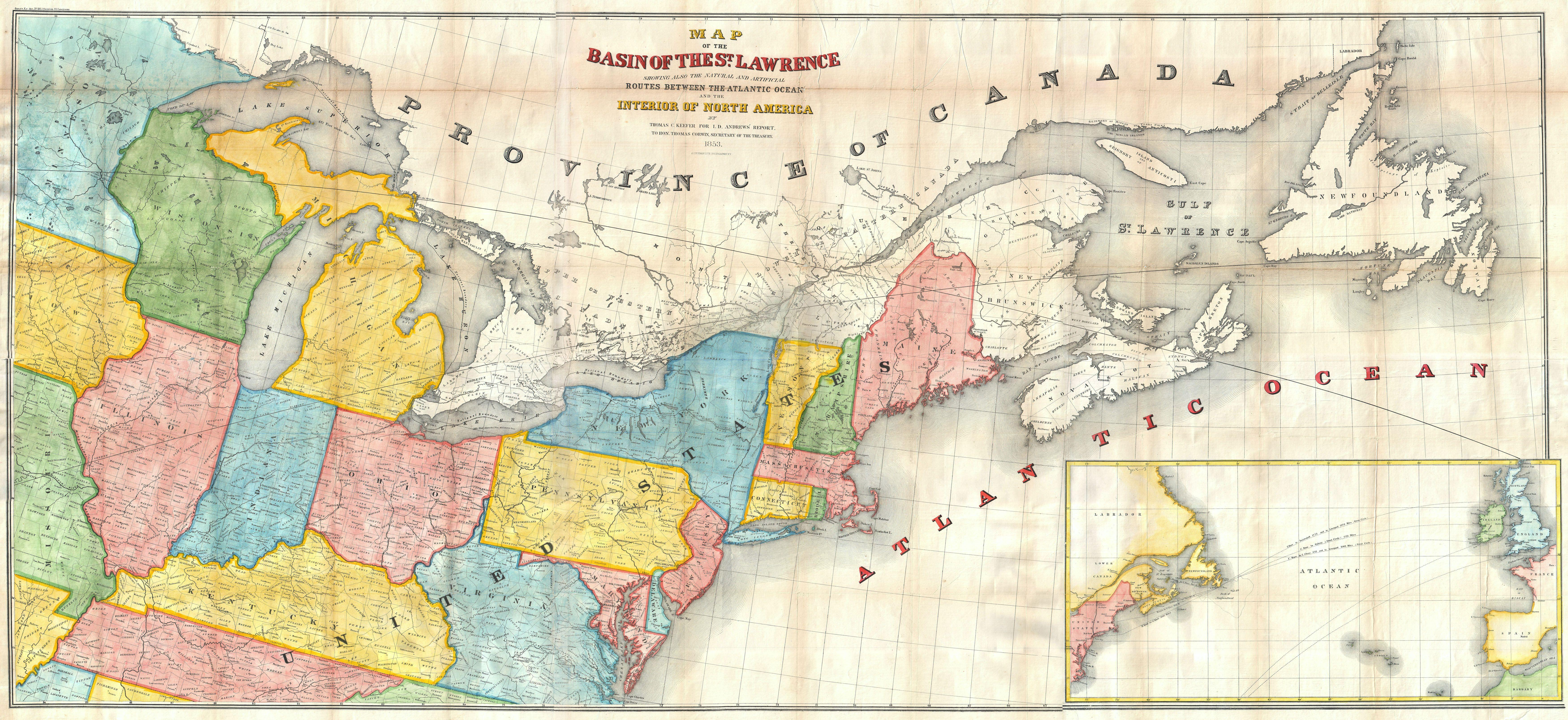St Lawrence River World Map.File 1853 Andrews Map Of The Great Lakes And St Lawrence Basin