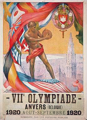 Official poster of the 1920 Summer Olympics in Antwerp. 1920 olympics poster.jpg