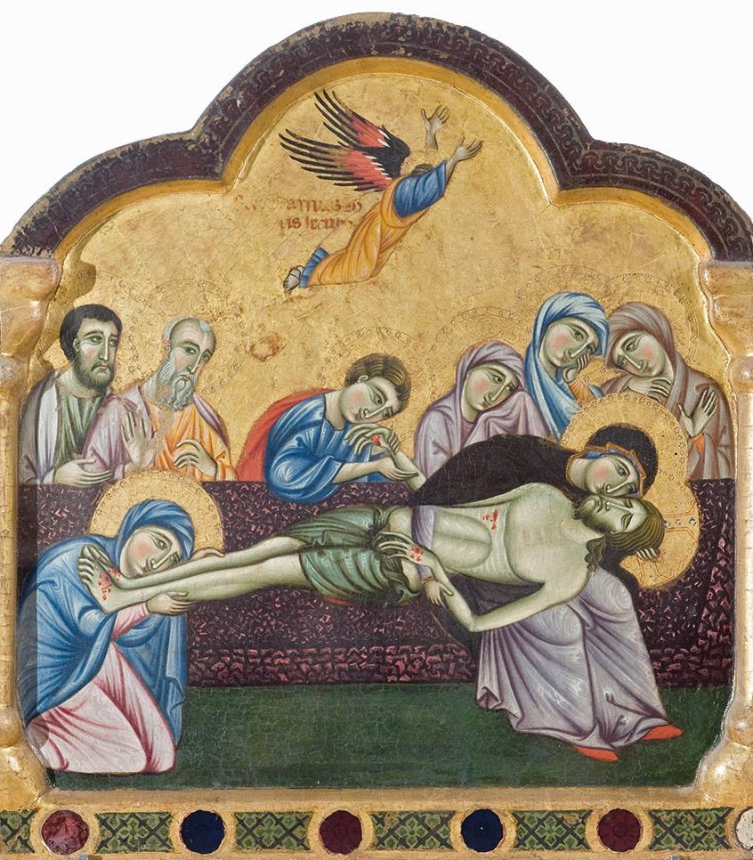 Maestro di San Francesco, Discesa dalla croce, Deposizione nel sepolcro, tre Santi, pannelli di un polittico,  Galleria nazionale dell'Umbria, Perugia