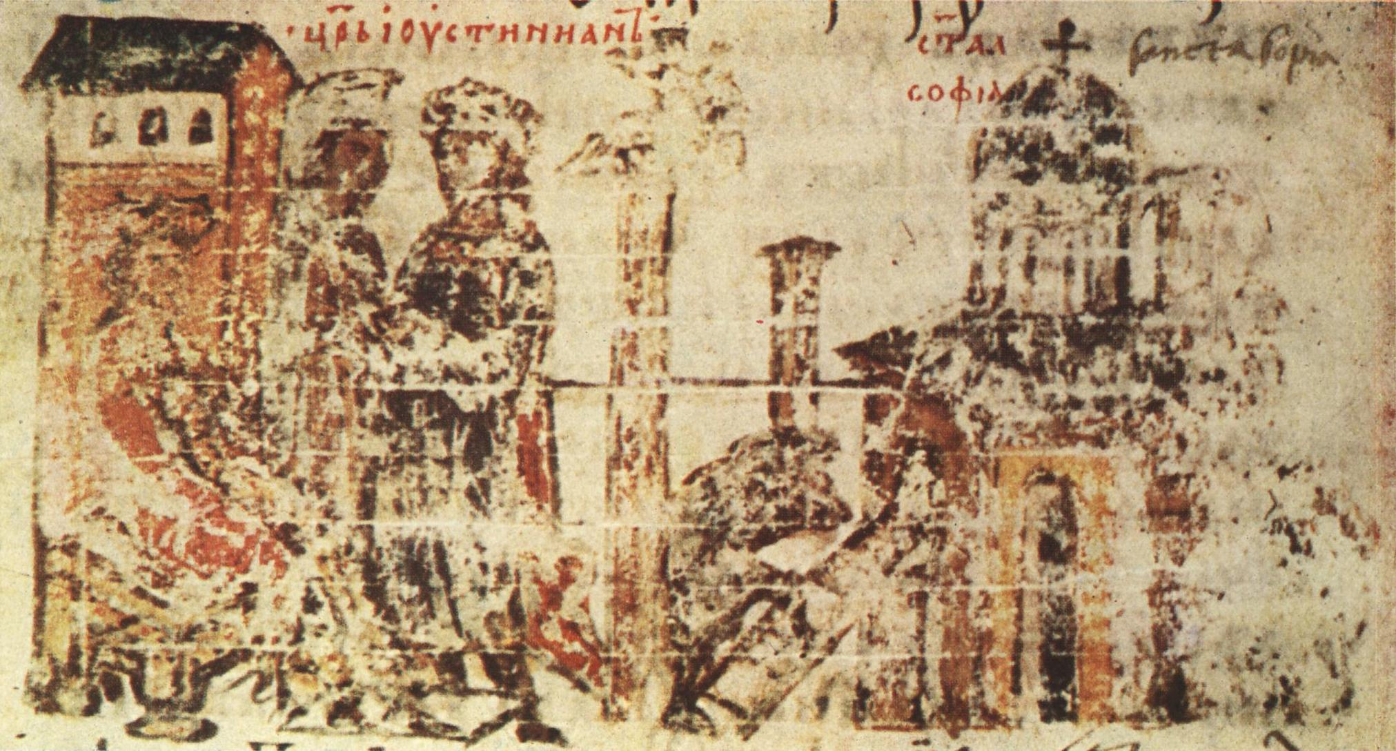 Construction of church depicted in codex Manasses Chronicle