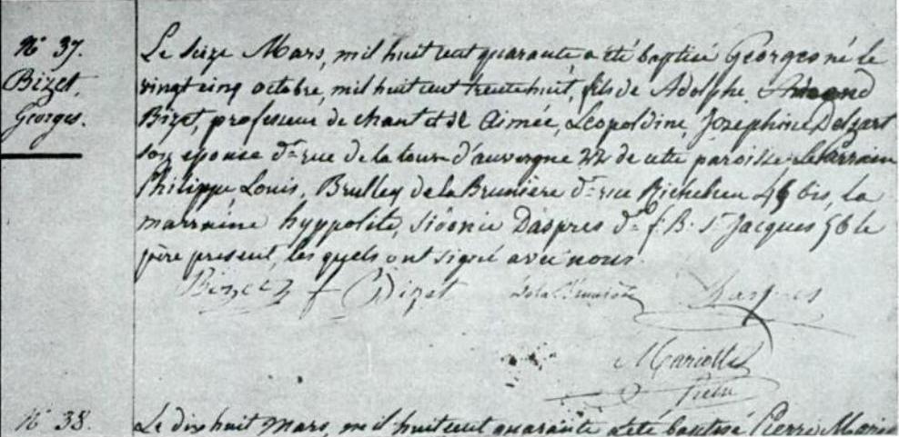 Acta del bautismo de «Georges» del 16 de marzo de 1840 en la iglesia de Nuestra Señora de Loreto en París.