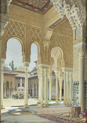 The interiors of the Alhambra in Spain are dec...