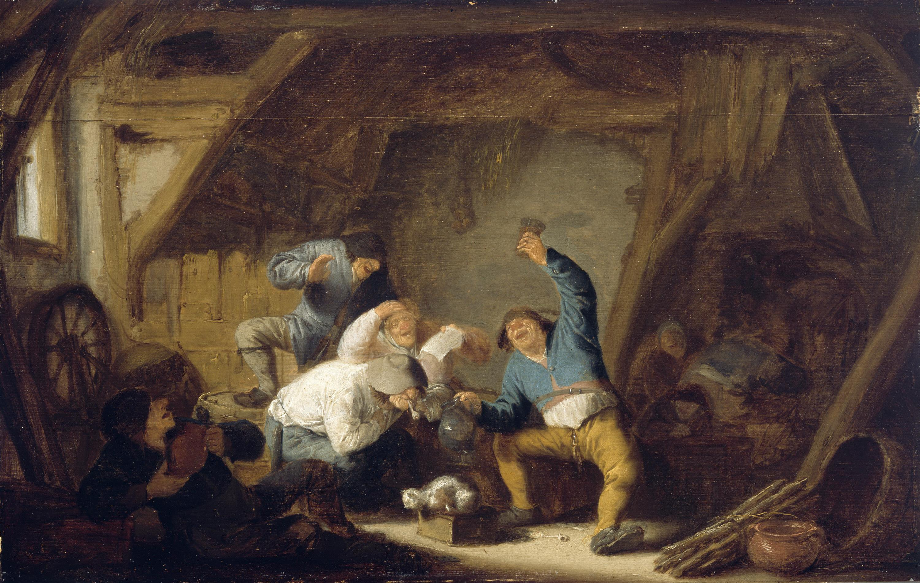 Boors Drinking in a Barn