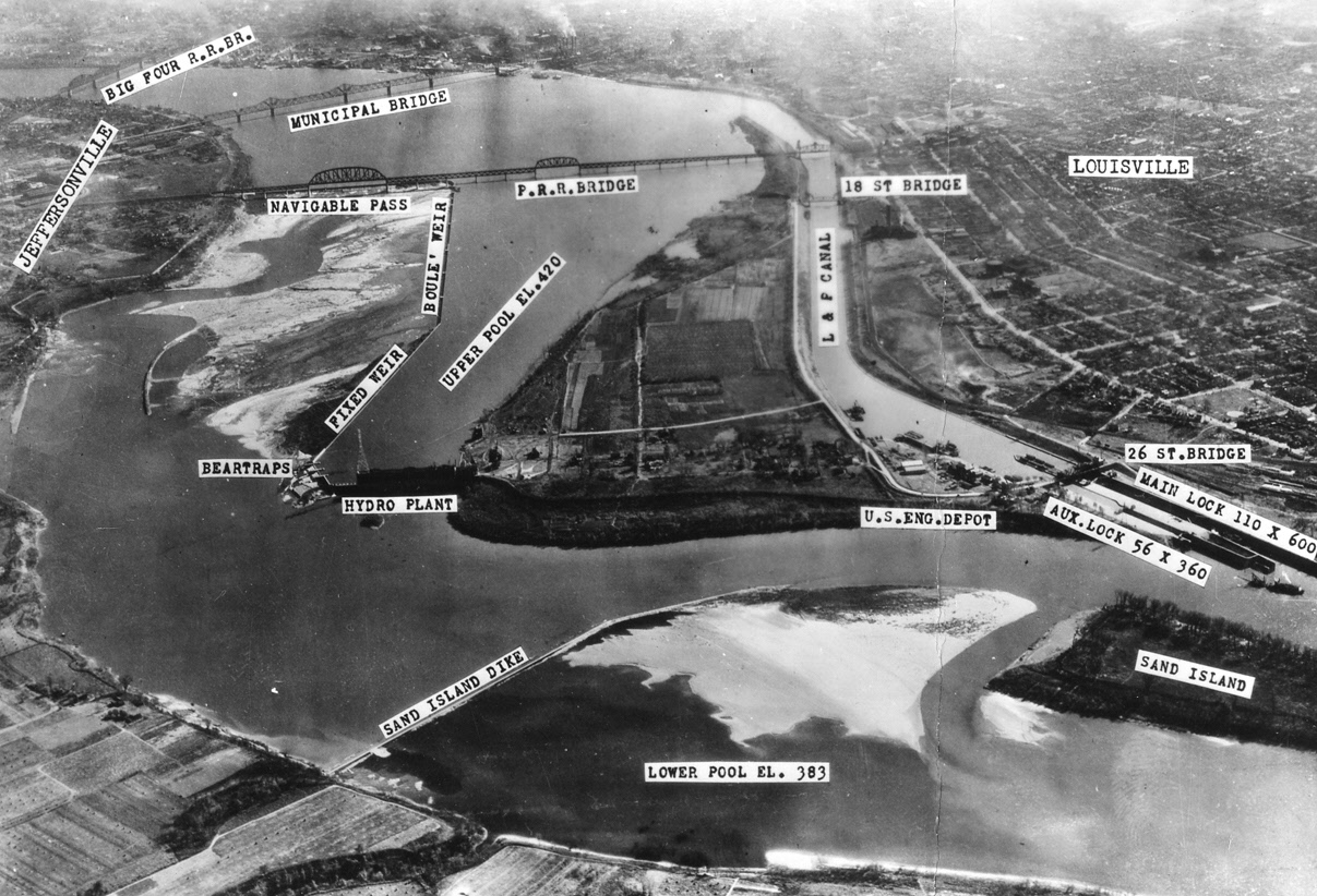 Falls Of The Ohio Map.File Aerial View Of Falls Of The Ohio And Locks And Dam No 41 Circa