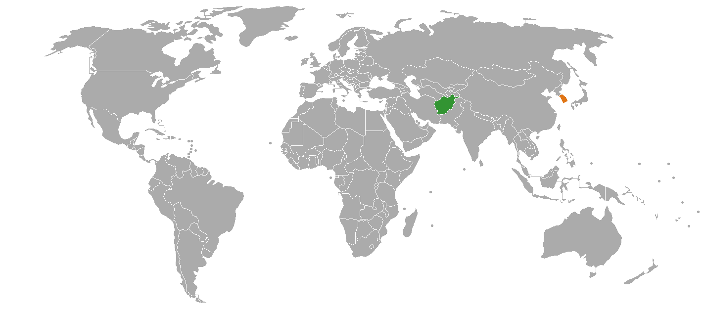 fileafghanistan and south korea on the world mappng