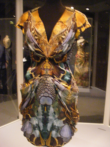 An Alexander McQueen dress from his last show, on display at the Victoria and Albert Museum, London, in 2009. Alexander McQueen last show dress V&A museum.jpg