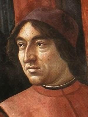 Angelo Poliziano from a fresco painted by Renaissance artist [[Domenico Ghirlandaio]] in the [[Tornabuoni Chapel]], [[Santa Maria Novella]], [[Florence]]