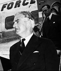 A picture of Anthony Eden leaving a plane.