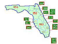 Area Codes for Florida By Rfc1394: derivative work: prof611 (Area_code_FL.svg) [CC BY-SA 3.0 (http://creativecommons.org/licenses/by-sa/3.0)], via Wikimedia Commons