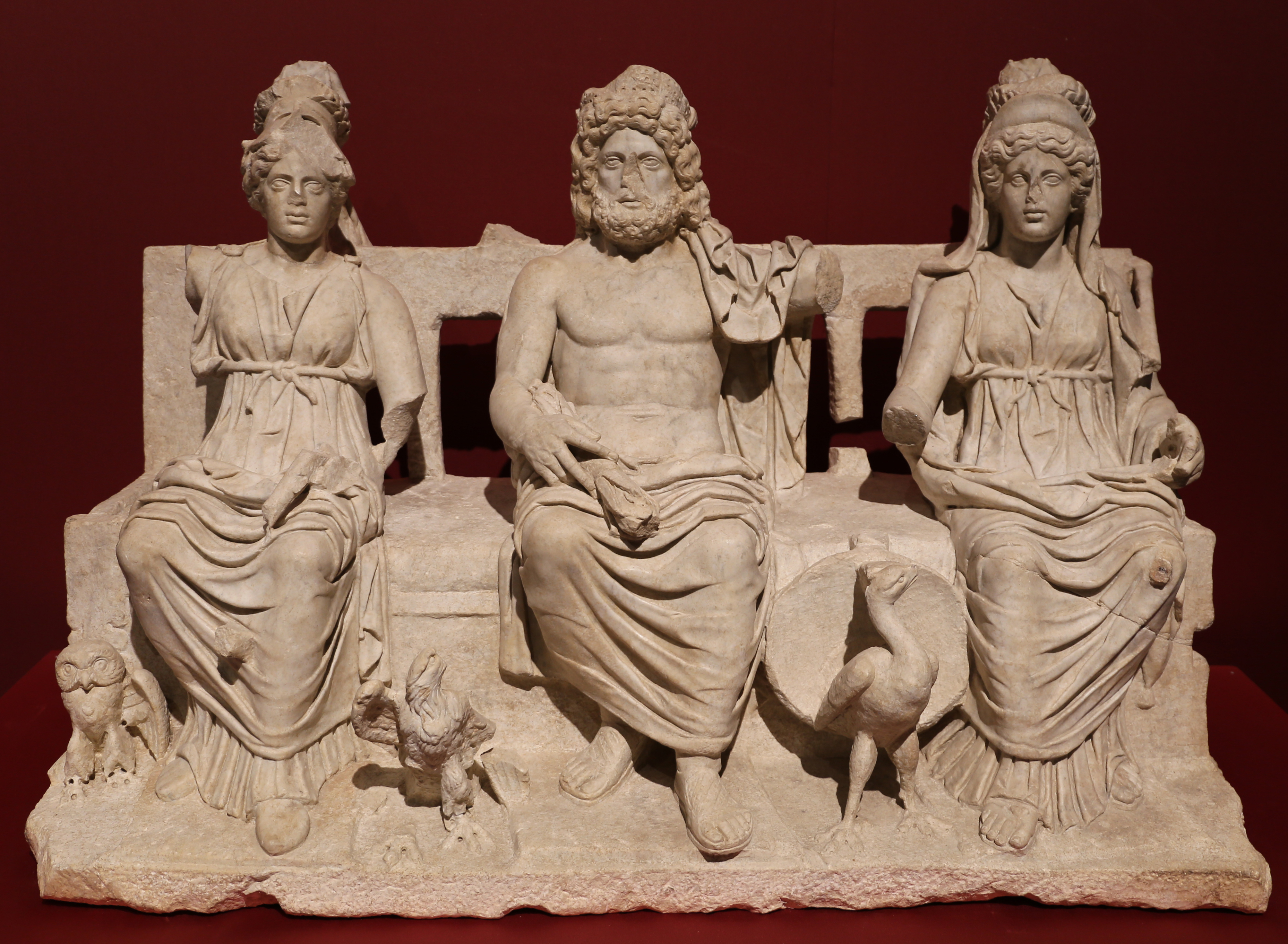 An image of the Capitoline Triad.