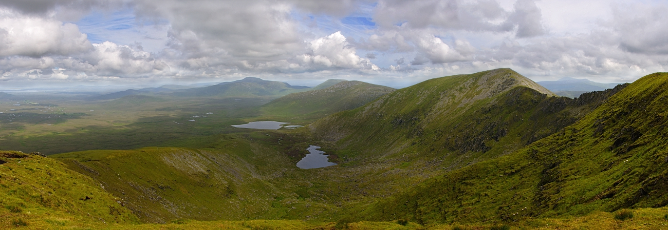 Panorama of Ballycroy National Park with Nephin Beg Range at right of image