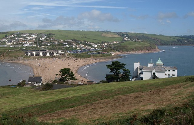 Burgh Island Hotel and the mainland - geograph.org.uk - 1475914