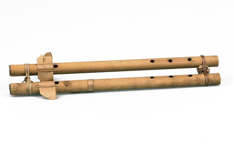 File:COLLECTIE TROPENMUSEUM Dubbelfluit van bamboe met zes vingergaten TMnr 5609-10.jpg