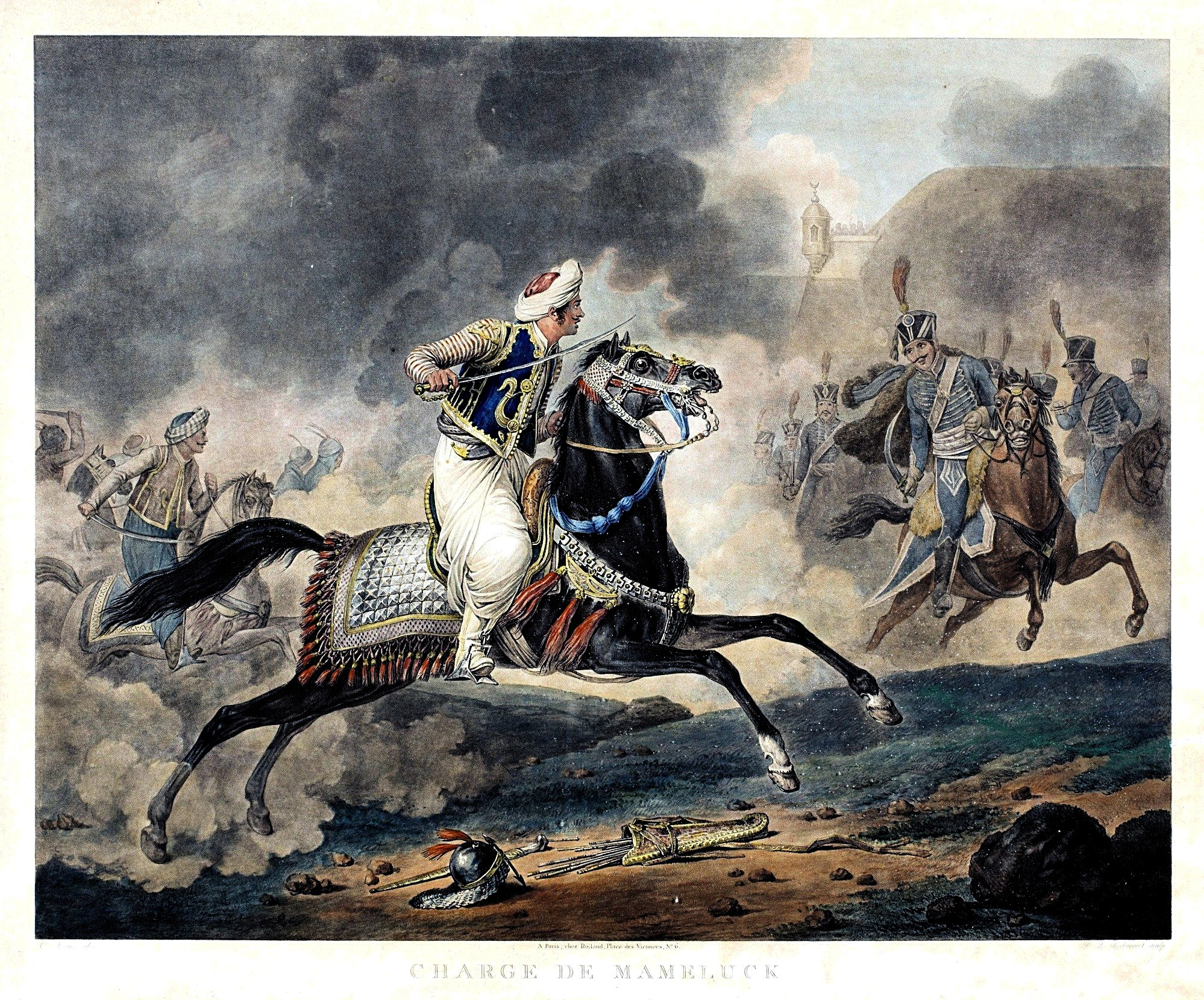 A mounted man on a dark horse attacking a line of mounted men