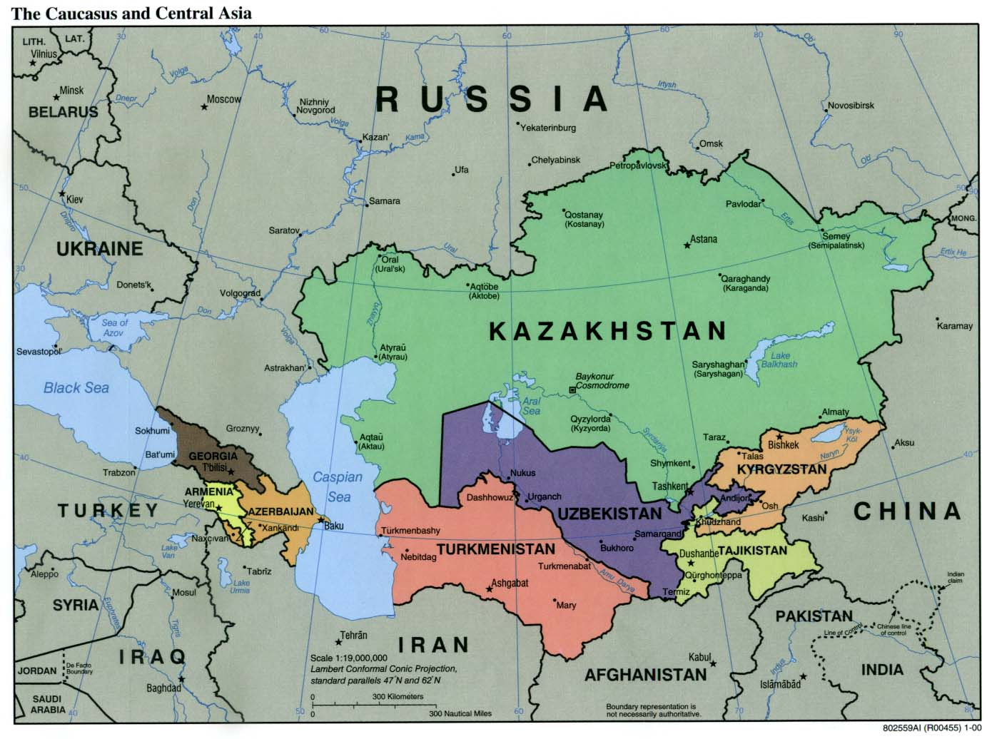 Central Asia Political Map File:Caucasus central asia political map 2000.   Wikimedia Commons
