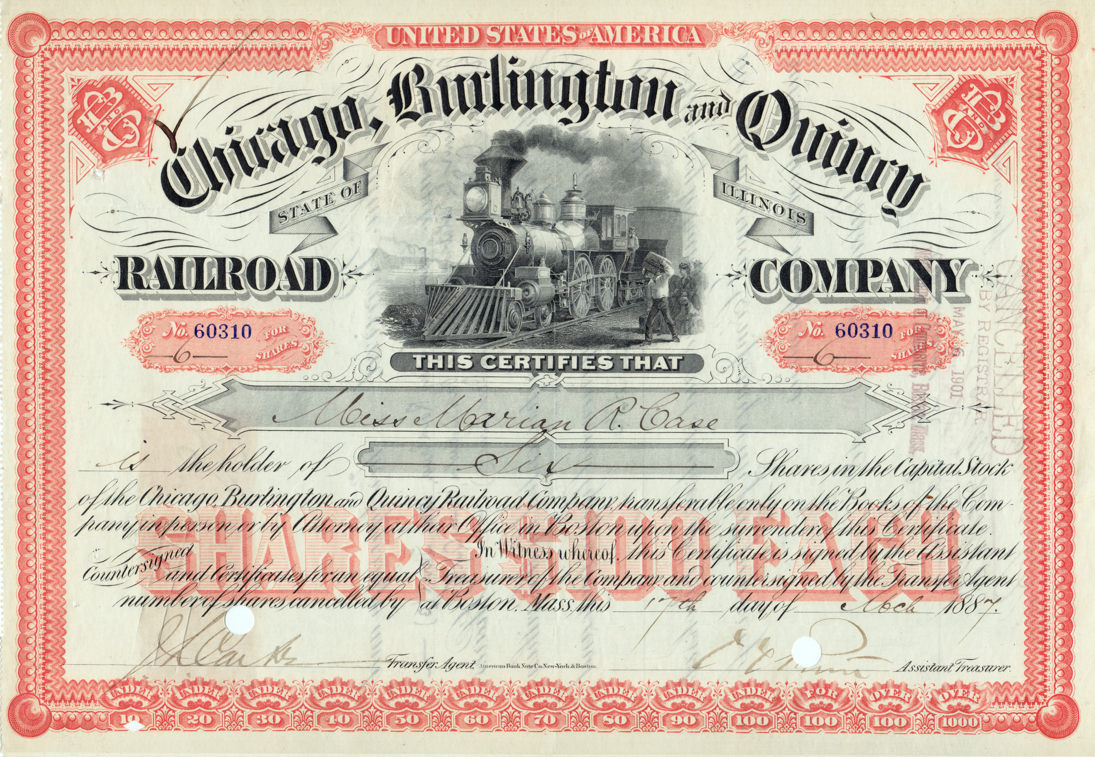File:Chicago, Burlington U0026 Quincy Railroad Stock Certificate 1887  Printable Stock Certificates