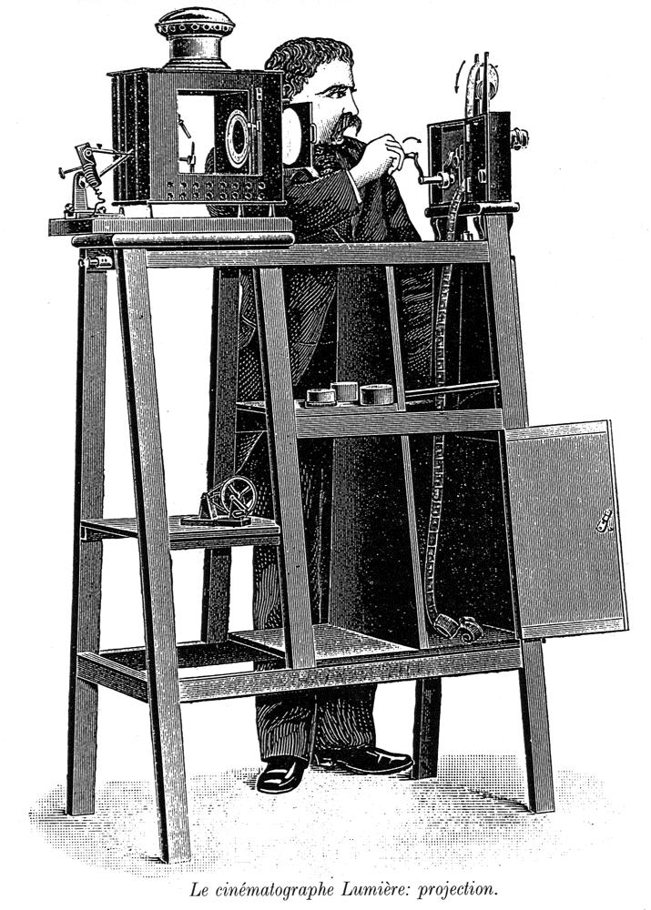 Le cinématographe, invention des frères Lumière.