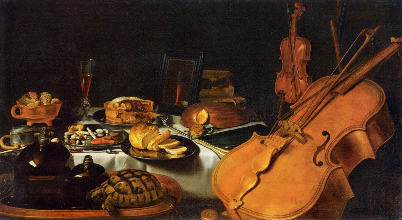 nallegoryoffivesenses.tillifebyieterlaesz,1623.hepaintingillustratesthesensesthroughmusicalinstruments,acompass,abook,foodanddrink,amirror,incenseandanopenperfumebottle.hetortoisemaybeanillustrationoftouchoranallusiontotheoppositethetortoiseisolatinginitsshell.