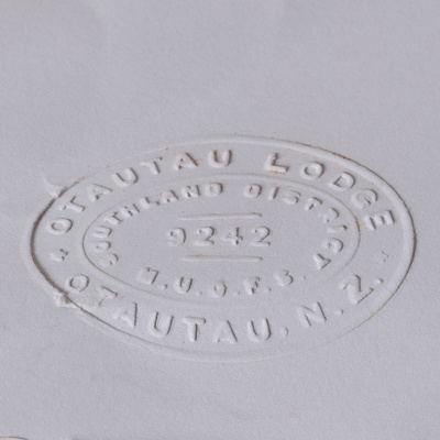 English Embossed paper created from a hand-press that belonged to the Manchester Unity International Order of Odd Fellows (M.U.I.O.O.F.) Lodge in Otautau