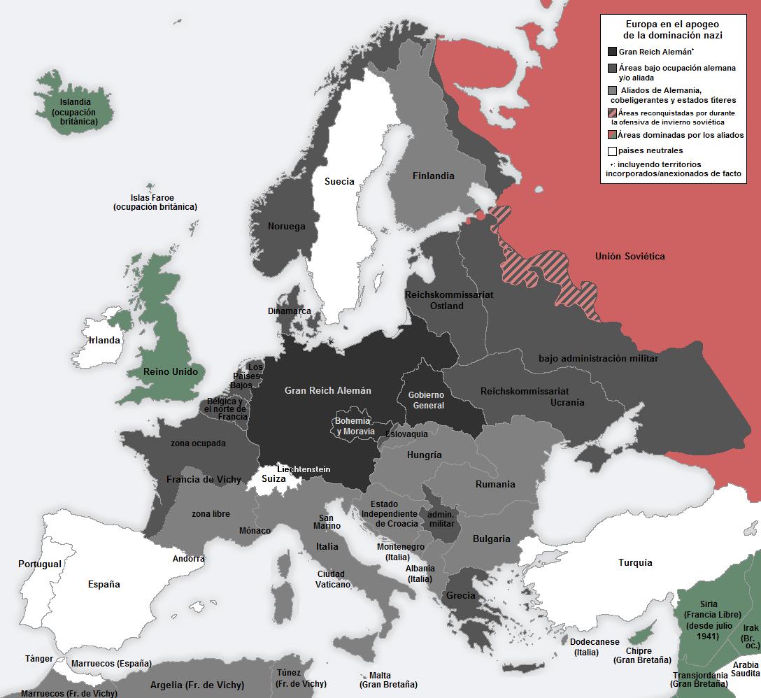 Distribució territorial d'Europa el 1941/42. En el mapa es poden veure els territoris sota administració alemanya.