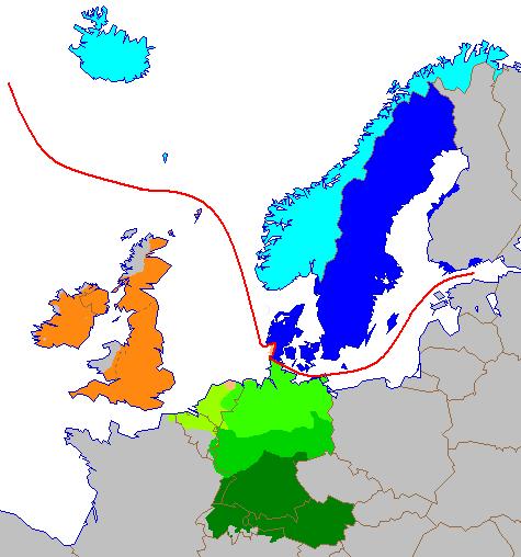 Heutige germanische Sprachen in Europa