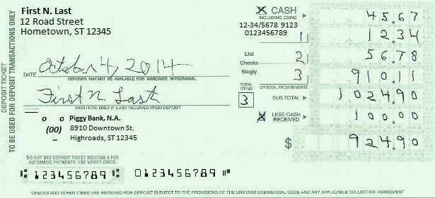 image about Us Bank Deposit Slip Printable referred to as Deposit slip - Wikipedia